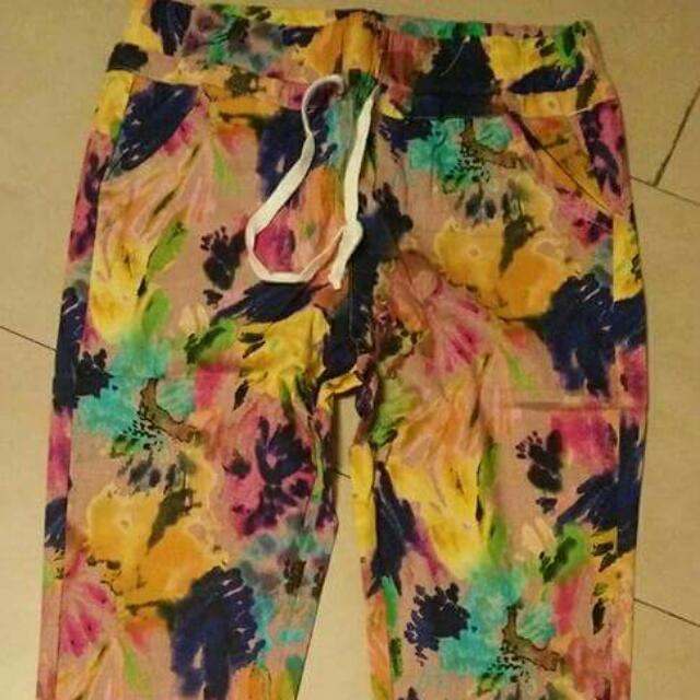 Watercolor-print Pants