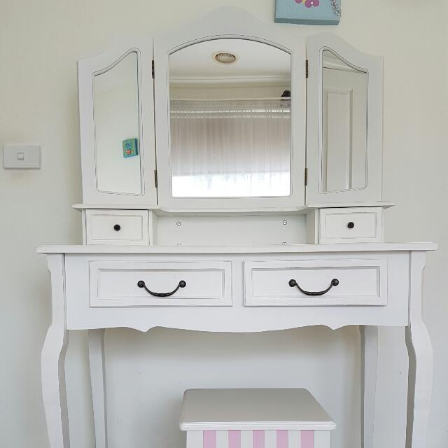 White Dressing Table 4 Drawer Mirror