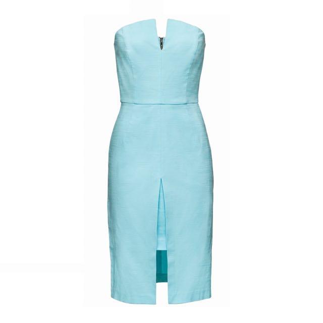 White Suede Racedays Dress Aqua Size AU 8