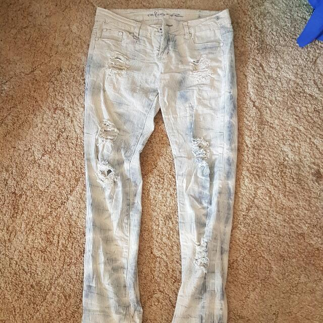 Whitewashed Ripped Skinny Jeans Size 10