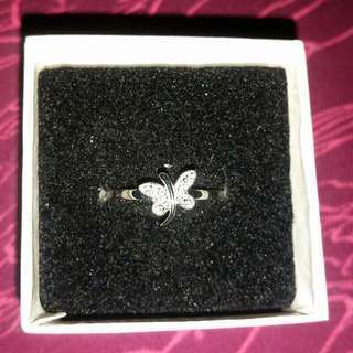 Brand New Sterling Silver Ring With 4 Small Diamonds.  Size 7 Tag Attached From Ben Moss.
