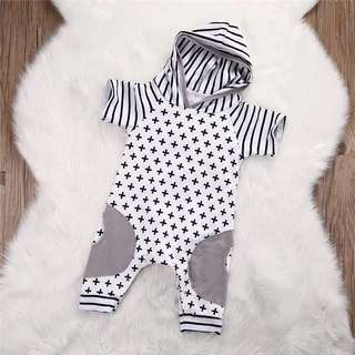 Cross/Striped Baby Romper