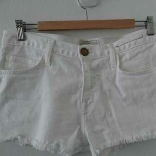 White Denim Cut-off Shorts Current/ Elliott