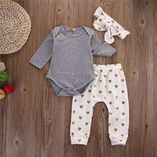 3pc Gold Heart Romper Set