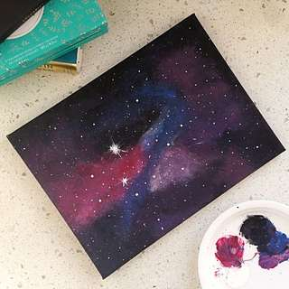 Acrylic Galaxy Painting On Canvas