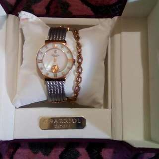 Pre- Loved Class A Charriol Bangle Watch Two Toned bought In Singapore 98% smooth Reg box with card We can arrange meet-ups Please text Interested in this ad? You may inquire by clicking on any of the available contact buttons on this page.  Thank you