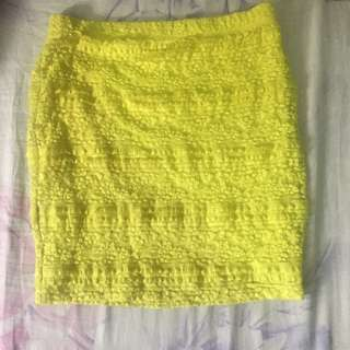 Yellow Lace Mini Skirt