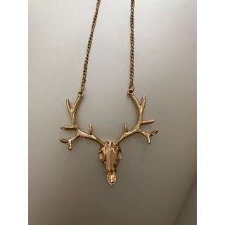 Gold Deer Chain Necklace