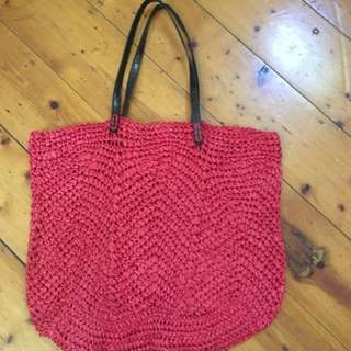 Sportscraft Red/orange Straw Crochet Bag , Large / Boho Style