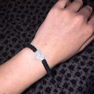 Black Woven Bracelet With Heart
