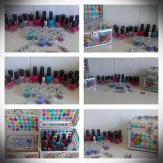 Nail Polish 35 Piece Set In The Big Container: $30 And The Little Container Has Assorted Fake Nail:$20