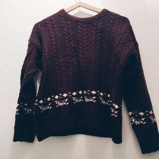 Maroon Wool Knit Jumper Free Size