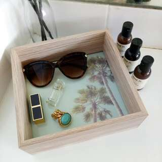 Home Decor Summer Palm Trees Accessories / Vanity / Make Up / Jewellery Storage Box Tray