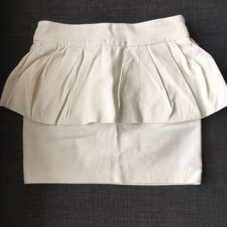 Zara White Peplum Skirt