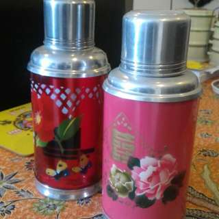 """Vintage RED Flask  - 10.5"""" H (Double Happiness Pink Flask - Not For Sale)"""