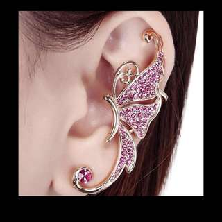 Crystal Butterfly Wings Ear Clip Clamp Wrap Cuff Eating Fashion Jewelry For Left Earring Only