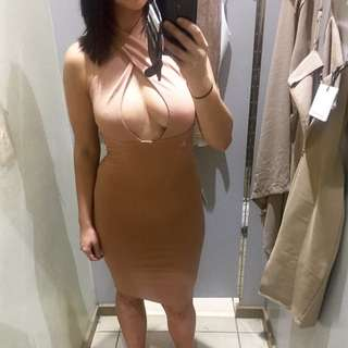 Nude Dress Beige Cross Neck