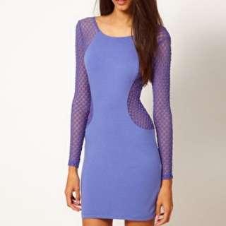 Blue Dress Motel Rocks Mesh Long Sleeve