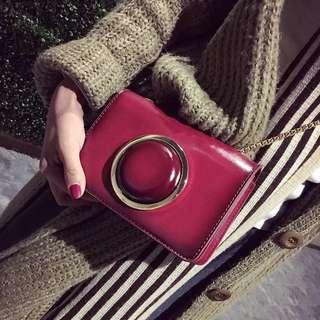 (新款)韓版相機造型漆皮小方包女包單肩包斜挎包鏈條包