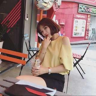 最後現貨_Queenia💖夏裝新款韓版性感露肩寬鬆T恤