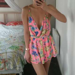 Neon Pink Floral Playsuit