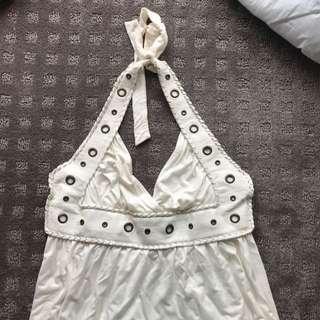 Halter Neck Cream Dress