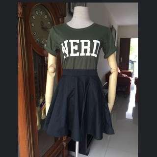 kaos nerd dan bawahan premium skirt