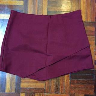 Wine Red Colour Skort