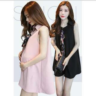 [PO] Maternity Wear - Dress With Silky Scarf Bow Tie