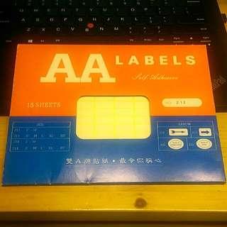 [包郵]香港製雙A牌Label#212 (15張)