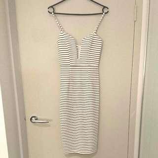 White Stripes Midi Skirt Size 6