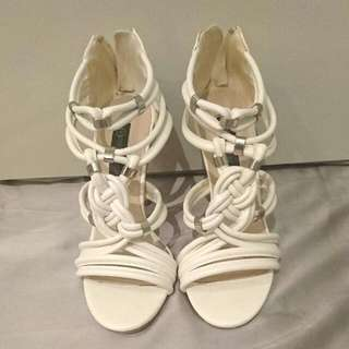 Forever New White Strapped Heels Size 37