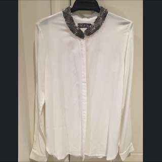 Price Dropped Brand New White Longsleeve With Beaded Collar