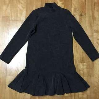 全新 深灰色 羅紋 魚尾裙 魚尾 連身洋裝