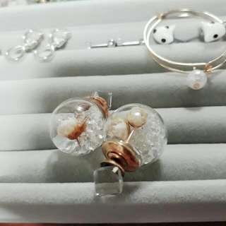 玻璃球耳環