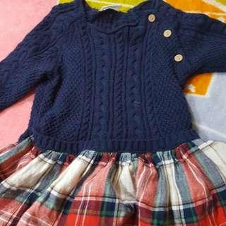 英國NEXT,深藍針織上衣格子裙(3-6M)