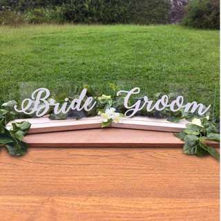 *Temporary Out of Stock - Bride and Groom Acrylic with Wood Wedding Signages ( Decoration )