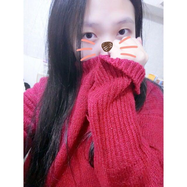 ✨酒紅色高領毛衣
