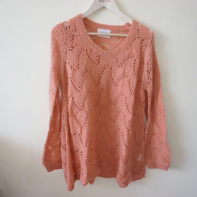 粉色傘狀長版針織上衣