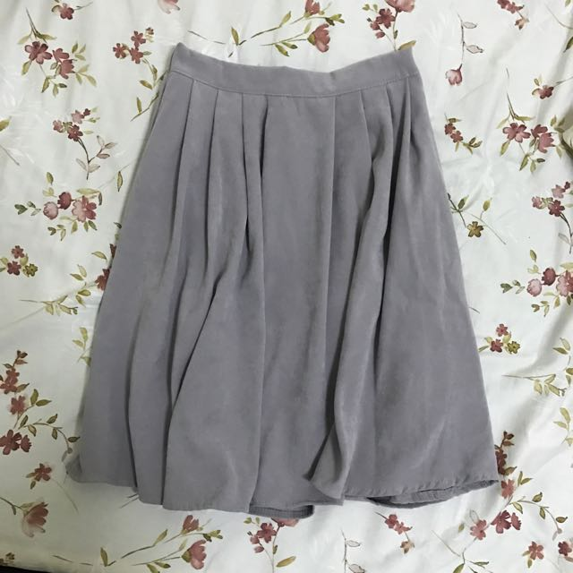 灰色 氣質 中長裙