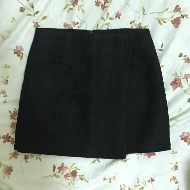 黑色 不規則 A字裙 短裙