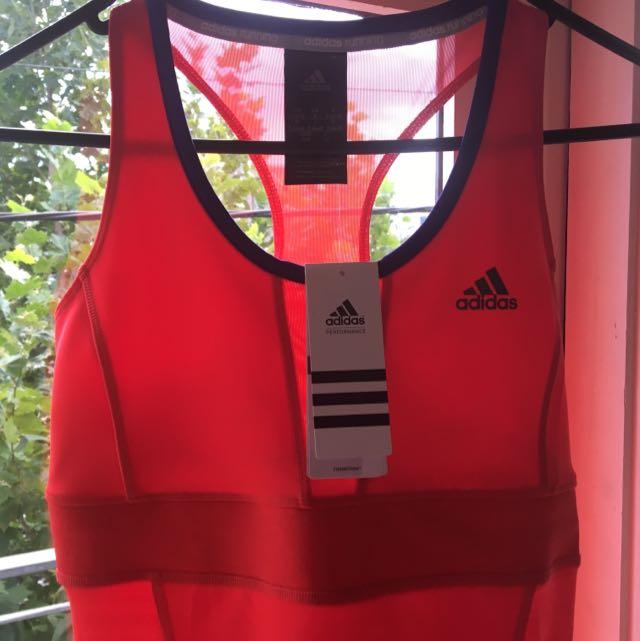Adidas Brand New Gym Training Sports Singlet Top Racer Back Fitness #fitspo