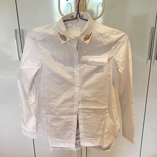 Beautiful Back Print White Shirt.