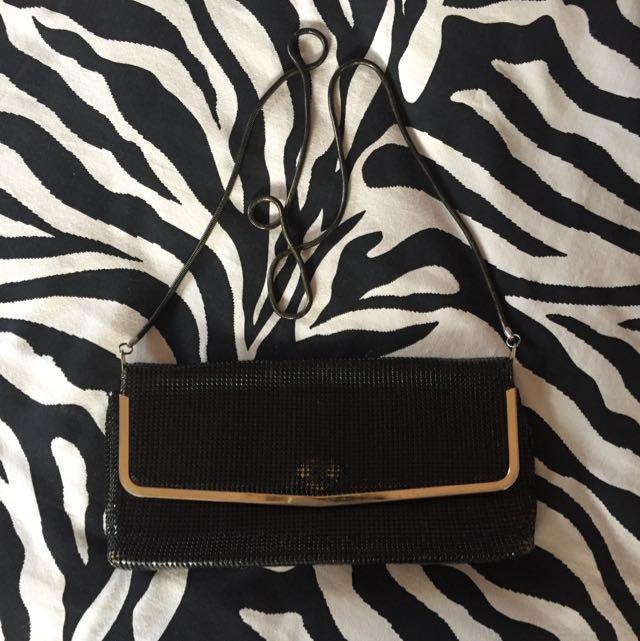 black and gold glomesh bag