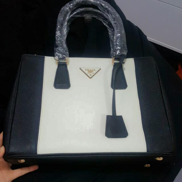 Black And White Prada Hand Bag Brand New