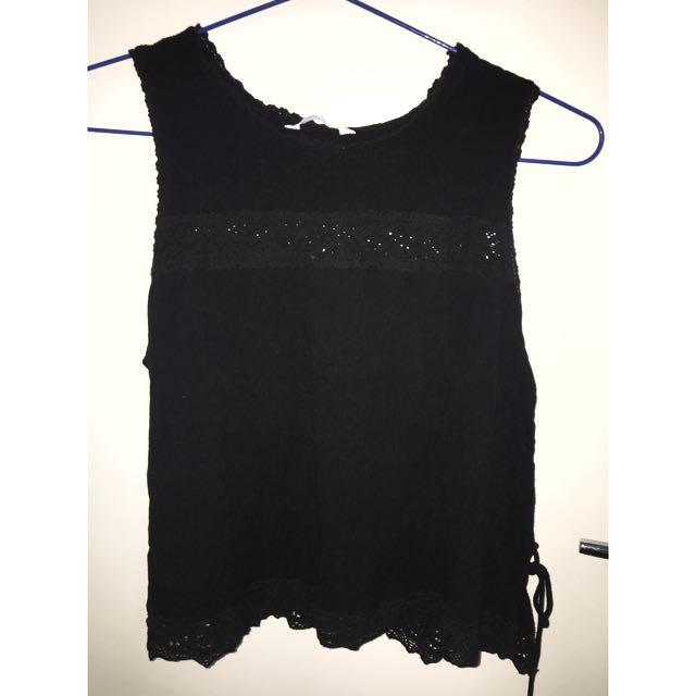 Black Side Lace Top