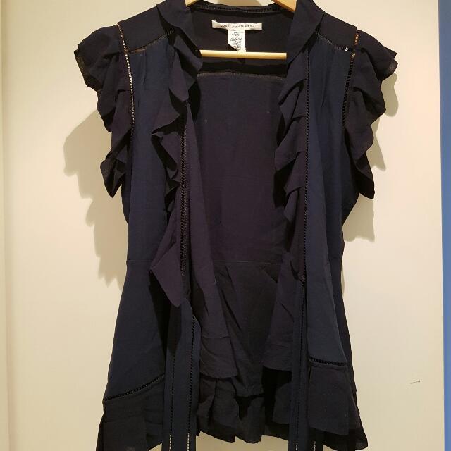 Diane Von Furstenburg Silk Wrap Blue Navy Top US size 4