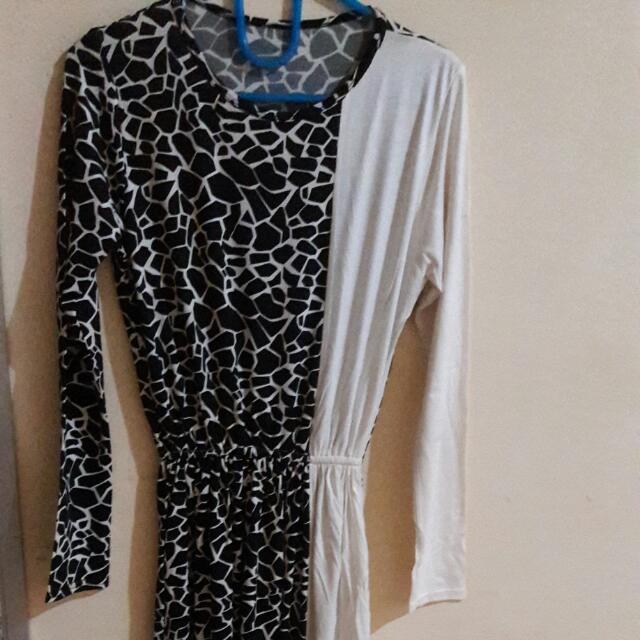 Dress Panjang Motif Hitam Putih