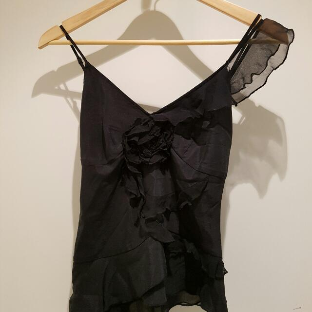 Esprit Brand New Silk Top Black Fully Lined Size 6