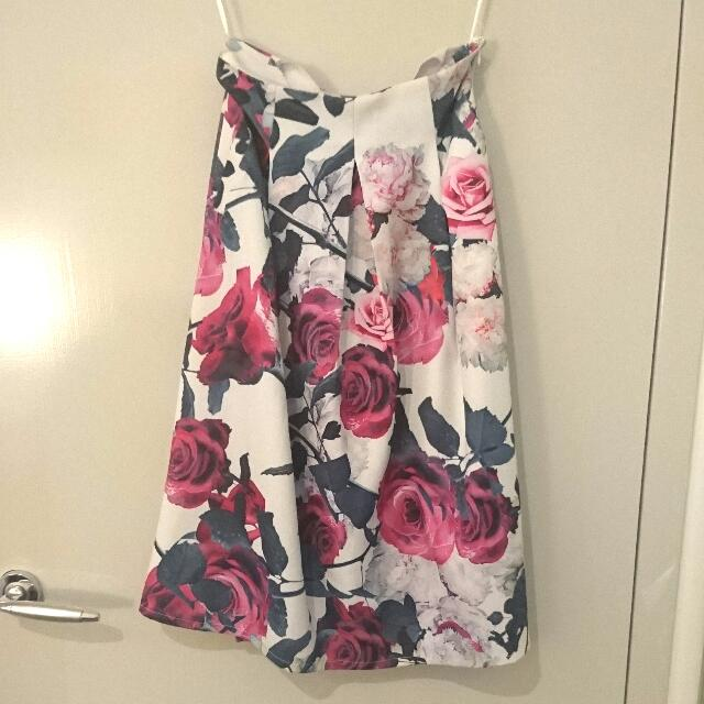 Floral Midi Skirt With Pockets Size 6